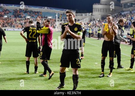 Nicosia, Cyprus. 17th Oct, 2017. Dortmund's team with Sokratis Papastathopoulos (C) and Pierre-Emerick Aubameyang - Stock Photo