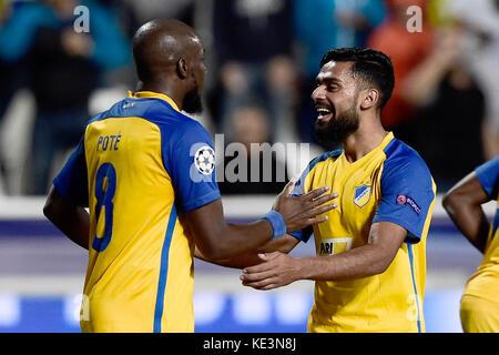 Nicosia, Cyprus. 17th Oct, 2017. Nicosia's Mickael Pote (L) celebrates his 1-0 goal during the Champions League - Stock Photo