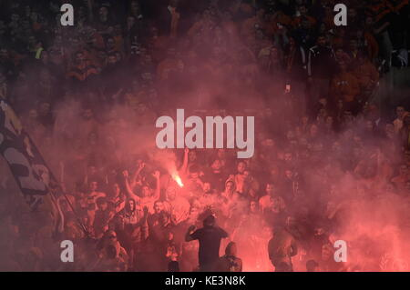 Nicosia, Cyprus. 17th Oct, 2017. Nicosia's fans during the Champions League group stages qualification match between - Stock Photo