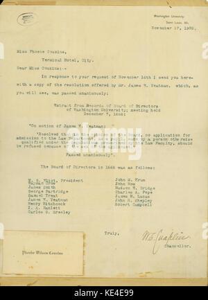 Typescript letter signed W.S. Chaplin, chancellor, Washington University, St. Louis, to Miss Phoebe Couzins, St. - Stock Photo