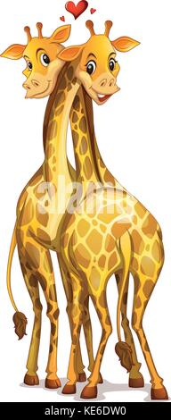 Two giraffes in love illustration - Stock Photo