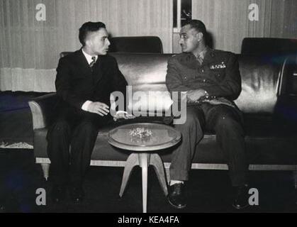 King Hussein of Jordan with Egyptian President Gamal Abdel Nasser in mid 1950s - Stock Photo