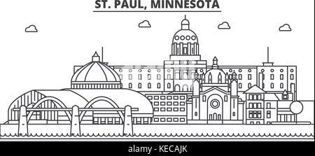 St. Paul, Minnesota architecture line skyline illustration. Linear vector cityscape with famous landmarks, city - Stock Photo