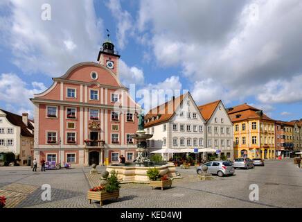 Market place with town hall and fountain Willibaldsbrunnen, Eichstätt, Altmühltal, Upper Bavaria, Bavaria, Germany - Stock Photo
