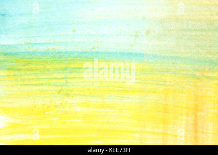 Abstract yellow green and blue watercolor art hand paint on white background,Watercolor background. . - Stock Photo