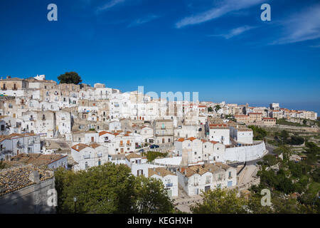 View of the town of Monte Sant'Angelo, Gargano. - Stock Photo