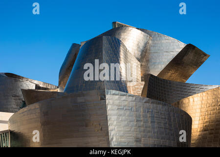 Architect Frank Gehry's Guggenheim Museum futuristic architectural design in titanium at Bilbao, Basque country, - Stock Photo