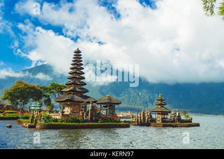Pura Ulun Danu Bratan, temple on lake. Bali, Indonesia. - Stock Photo