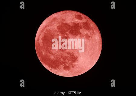 Full Blood moon on the dark night - Stock Photo