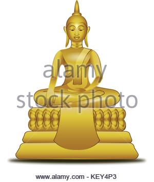 golden image of Buddha in vector style,illustration - Stock Photo