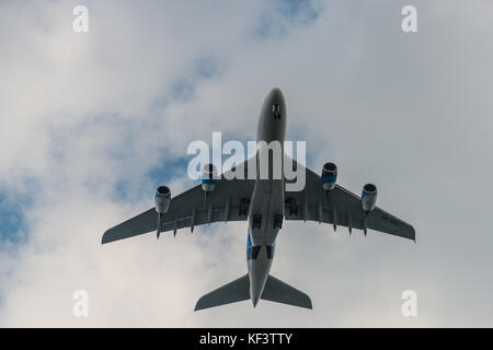 Airbus A380 on approach to Heathrow Airport, London, United Kingdom - Stock Photo