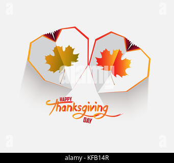 Happy Thanksgiving Day. Creative paper heart. Happy autumn leaves background - Stock Photo
