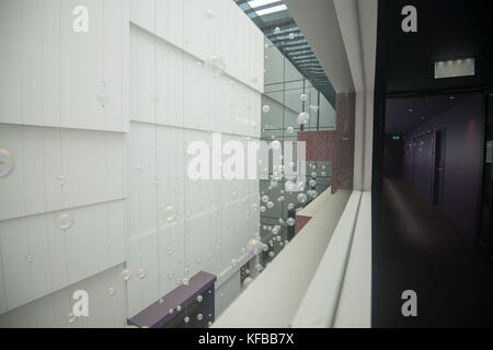 Bubbles and lines - an entrance hall of a building - Stock Photo