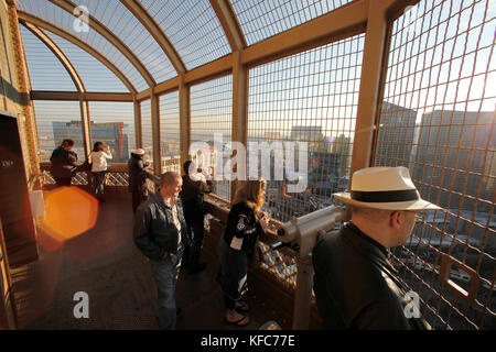 USA, Nevada, Las Vegas, Tourists take in the view from the top of the Eiffel Tower, , Paris Las Vegas Hotel and - Stock Photo