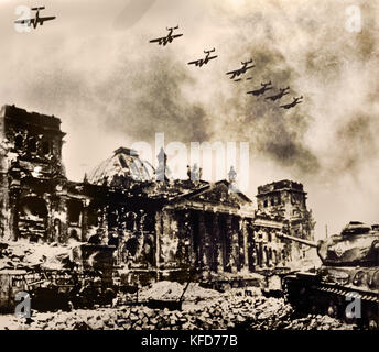 Reichstag building captured by the Red Army and severely damage in the Second World War. Berlin, Germany. April - Stock Photo