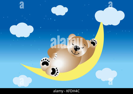 Sleeping teddy on moon in the night sky with stars and clouds - Stock Photo