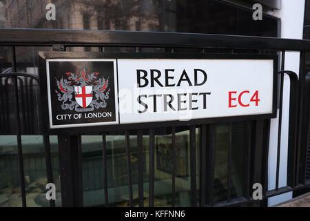 Street sign for Bread Street The City of London UK EC4 home of Gordon Ramsays Bread Street Kitchen. - Stock Photo