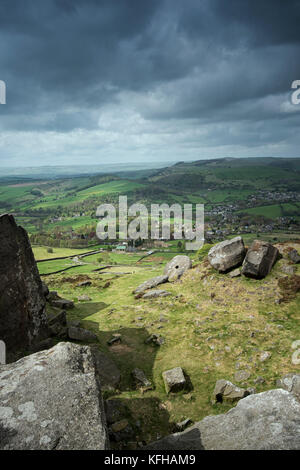 View from Curbar Edge in the Peak District National Park, Derbyshire, England, UK - Stock Photo