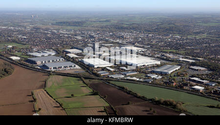 aerial view of the industry at the south west side of Burton-on-Trent, UK - Stock Photo