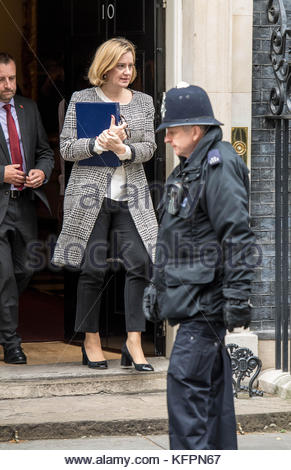Great Britain. October 31st, 2017. UNITED KINGDOM, London: British Home Secretary Amber Rudd leaves a cabinet meeting - Stock Photo