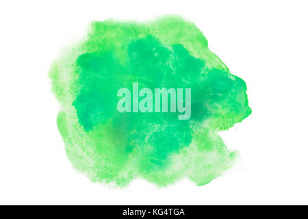 Color, green splash watercolor hand painted isolated on white background, artistic decoration or background - Stock Photo