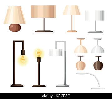 lamp vector, wall lamp, desk lamp, floor lamp, decorate lamp icon set Stock Vector Art ...