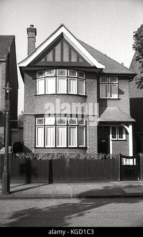 1940s, England, exterior view of a well-built detached house inthe suburbs built in a traditional sstyle in the - Stock Photo
