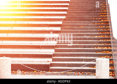 A stone staircase strewn with fallen bright yellow autumn leaves. With the blur and bright highlight - Stock Photo