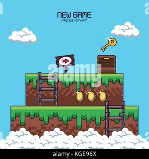 pixelated game scenery - Stock Photo