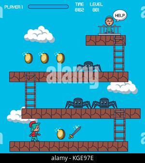 pixelated game scenery - Stock Photo