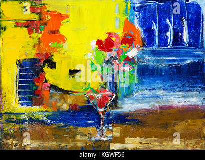 Abstract painting of cocktail and flowers on canvas.Modern Impressionism, modernism,marinism - Stock Photo