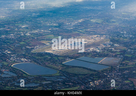 Aerial view of London Heathrow airport looking from the SW. - Stock Photo