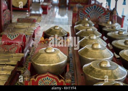 Gamelan, traditional balinese percussive music instruments for ensemble music, traditional music in Bali and Java, - Stock Photo