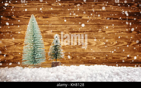 Old wooden planks with christmas decoration - Stock Photo