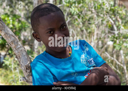 A young Malagasy boy in blue T-shirt. Madagascar, Africa - Stock Photo