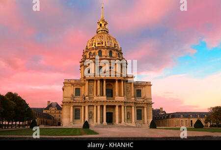 The cathedral of Saint Louis at sunset, Paris. - Stock Photo
