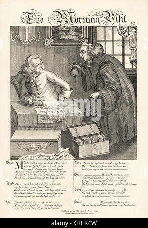 The Morning Visit: Caricature on the relations between aristocracy and the clergy. Lord at his table writing with - Stock Photo