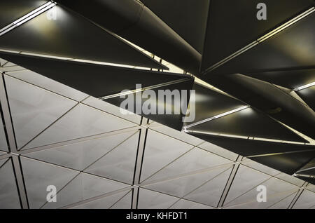 Abstract Airport Ceiling metal panels, reflections and shadows - Stock Photo