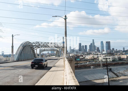 6th street bridge in Los Angeles. Now demolished the Sixth Street Viaduct, also known as the Sixth Street Bridge - Stock Photo