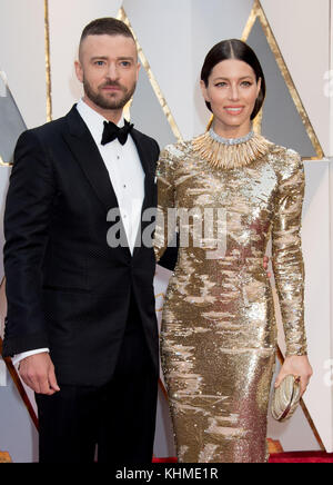 HOLLYWOOD, CA - FEBRUARY 26: Justin Timberlake and Jessica Biel attends the 89th Annual Academy Awards at Hollywood - Stock Photo