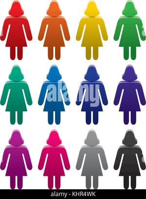 vector set of colorful female symbols - Stock Photo