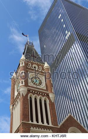 Perth town hall in front of a skyscraper against blue sky - Stock Photo