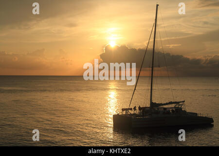 Vacation on tropical beach.  Jamaica Island. Caribbean sea. Seven mile beach. Negril. - Stock Photo
