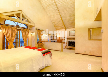 Master Bedroom With A Vaulted Ceiling In A Converted Barn Near Stock Photo 38830891 Alamy