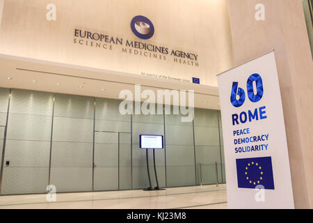 London UK. 21st November 2017. The European Medecines Agency which helps national authorities authorise the sale - Stock Photo