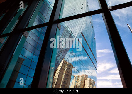 Building glass . Interior, Modern office building window opened in the morning - Stock Photo