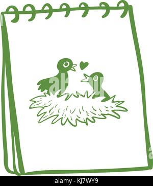 Illustration of a notebook with a drawing of two birds in the nest on a white background - Stock Photo