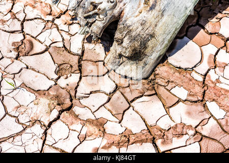 Macro closeup of red dried soil bed with mud cracks, wooden log, clay showing pattern and texture in desert - Stock Photo