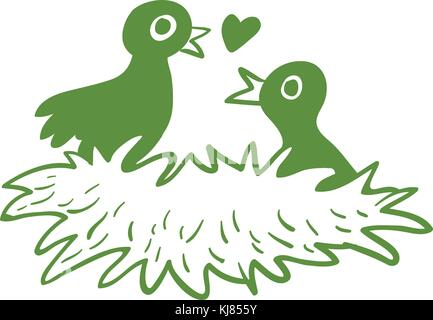 Illustration of the two love birds in their nest on a white background - Stock Photo