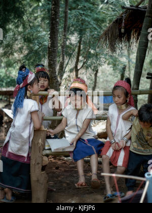 Long neck (Kayan) hill tribe children of Northern Thailand. Rural Thailand people S.E. Asia. Hill tribes - Stock Photo